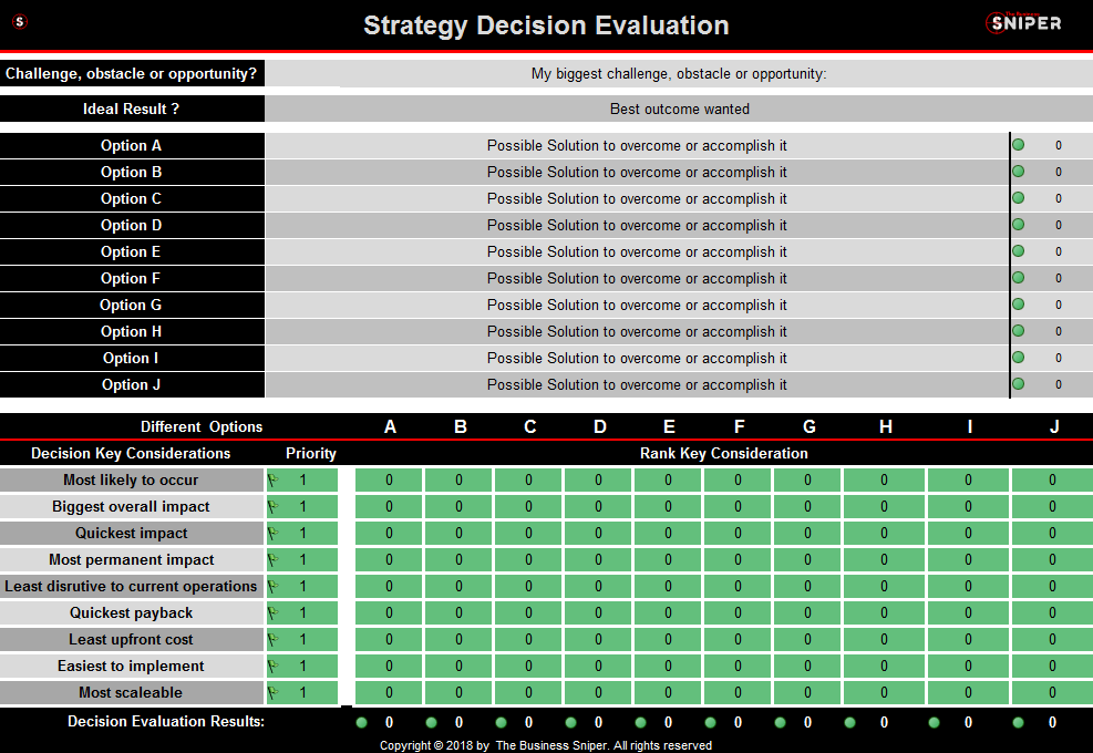 Strategy Decision Making Tool